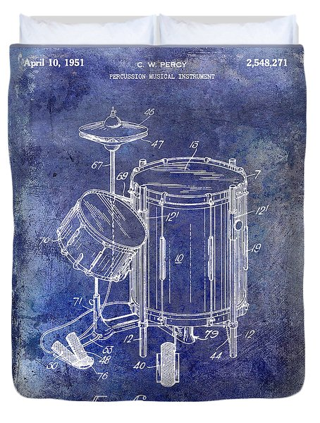 1951 Drum Kit Patent Blue Duvet Cover by Jon Neidert
