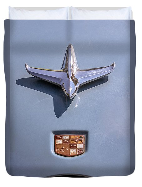 Duvet Cover featuring the photograph 1951 Studebaker Champion Hood Ornament by Betty Denise