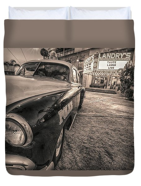 Duvet Cover featuring the tapestry - textile 1952 Chevy Black And White by Kathy Adams Clark