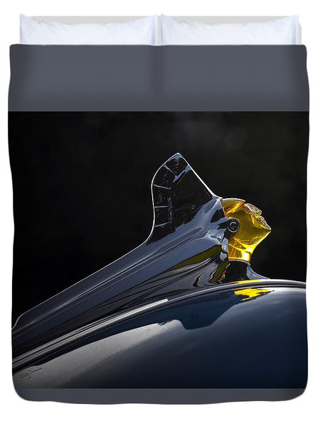1952 Pontiac Catalina Chieftan Lighted Hood Ornament 2 Duvet Cover