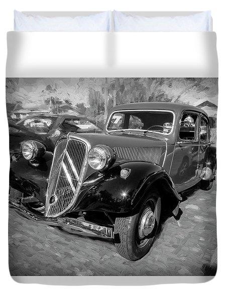 1953 Citroen Traction Avant Bw Duvet Cover by Rich Franco
