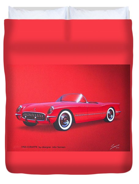 1953 Corvette Classic Vintage Sports Car Automotive Art Duvet Cover by John Samsen