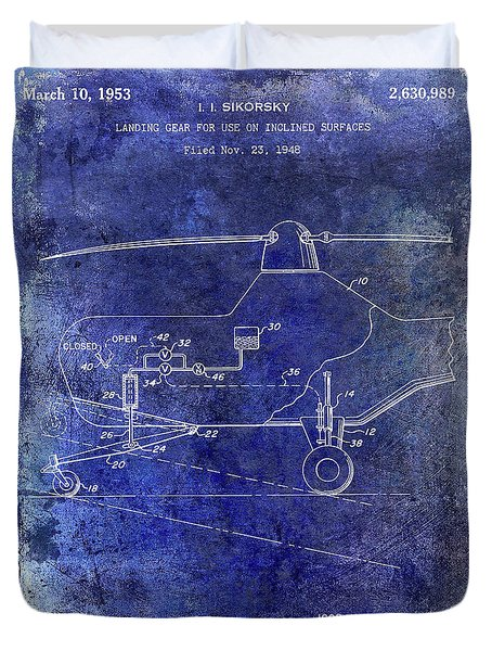 1953 Helicopter Patent Blue Duvet Cover