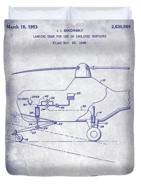 1953 Helicopter Patent Blueprint Duvet Cover