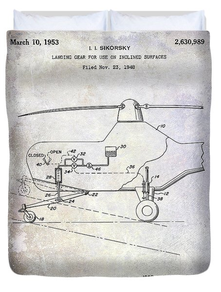 1953 Helicopter Patent Duvet Cover