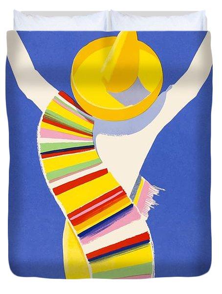 1954 Air France Paris To Mexico Travel Poster Duvet Cover