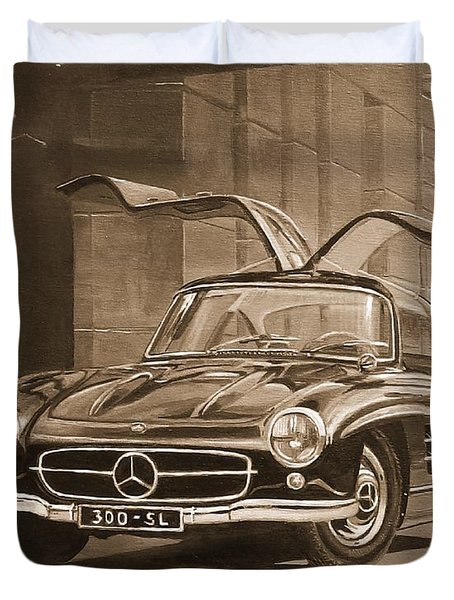 1954 Mercedes Benz 300 Sl  In Sepia Duvet Cover