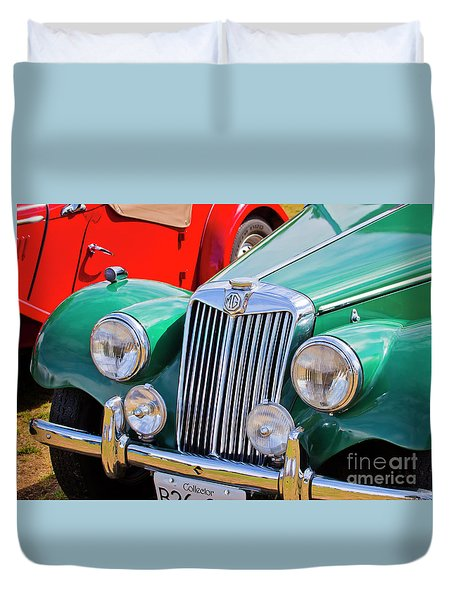 Duvet Cover featuring the photograph 1954 Mg Tf Sports Car by Chris Dutton