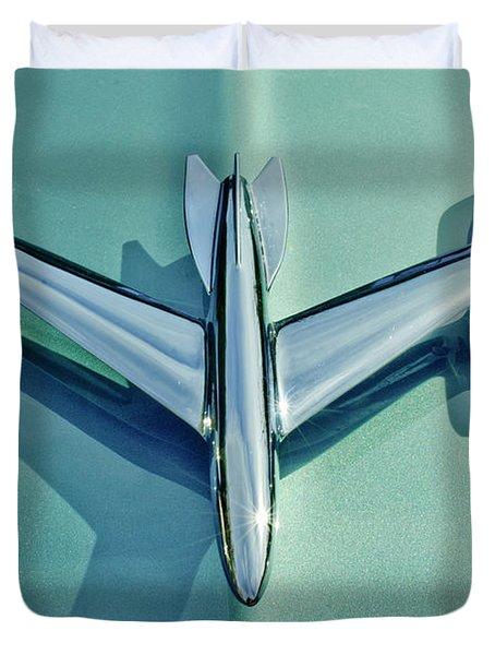 1954 Oldsmobile Super 88 Hood Ornament 2 Duvet Cover by Jill Reger