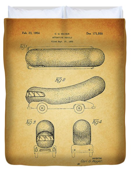 1954 Weiner Mobile Patent Duvet Cover by Dan Sproul