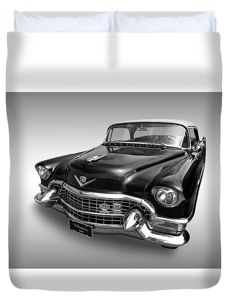 1955 Cadillac Black And White Duvet Cover by Gill Billington