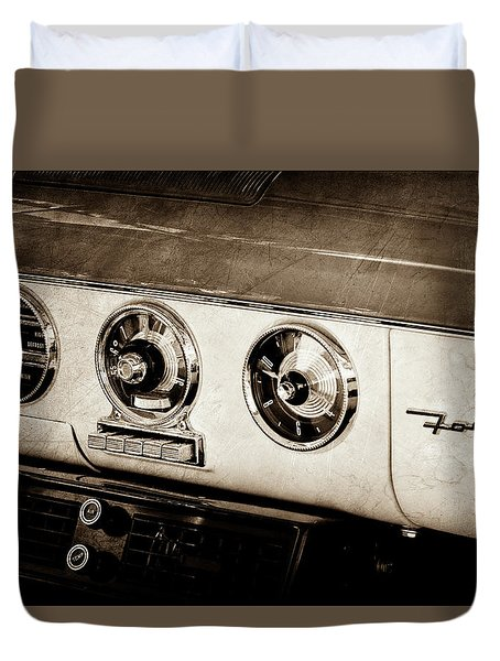 Duvet Cover featuring the photograph 1955 Ford Fairlane Dashboard Emblem -0444s by Jill Reger