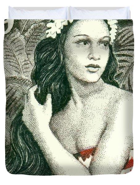 1955 French Polynesia Girl Of Bora Bora Postage Stamp  Duvet Cover