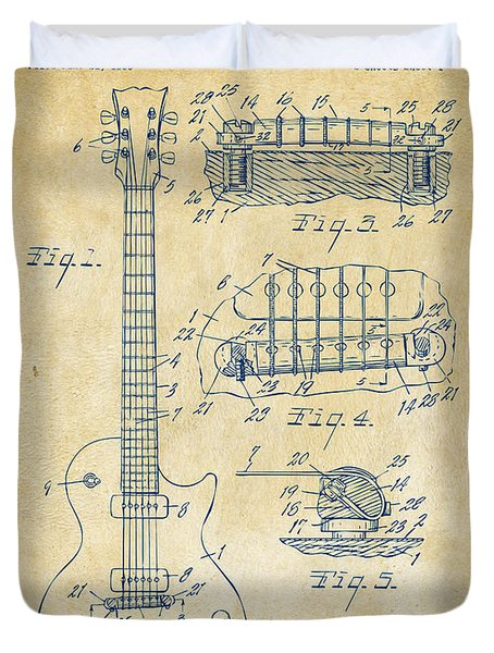 1955 Mccarty Gibson Les Paul Guitar Patent Artwork Vintage Duvet Cover