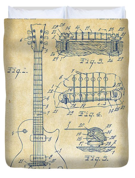 Duvet Cover featuring the drawing 1955 Mccarty Gibson Les Paul Guitar Patent Artwork Vintage by Nikki Marie Smith