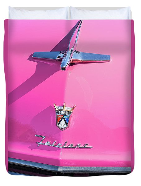 1955 Pink Ford Fairlane Hood Ornament Duvet Cover