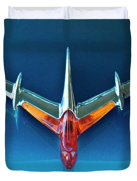 1955 Pontiac Safari Hood Ornament 2 Duvet Cover