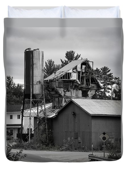 Duvet Cover featuring the photograph 1955 Redi-mix Cement Plant by Betty Denise