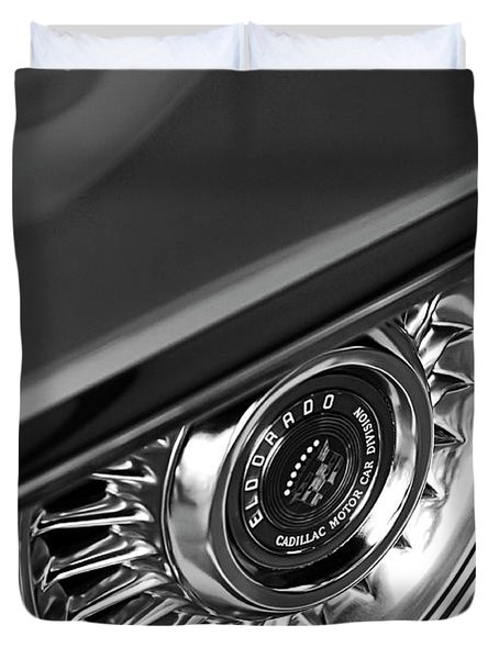 1956 Cadillac Eldorado Wheel Black And White Duvet Cover