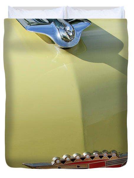 1956 Cadillac Sedan Deville Hood Ornament Duvet Cover