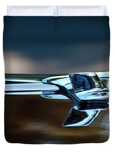 1956 Chevy Belair Hood Ornament Flying 2 Duvet Cover