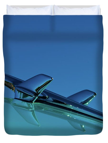 1956 Chevy Belair Hood Ornament Duvet Cover