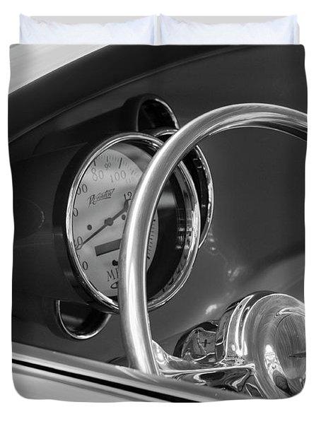 1956 Chrysler Hot Rod Steering Wheel Duvet Cover by Jill Reger