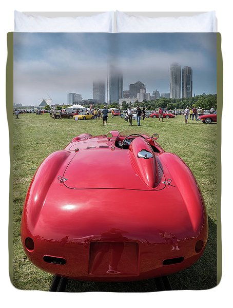Duvet Cover featuring the photograph 1956 Ferrari 290mm - 2 by Randy Scherkenbach