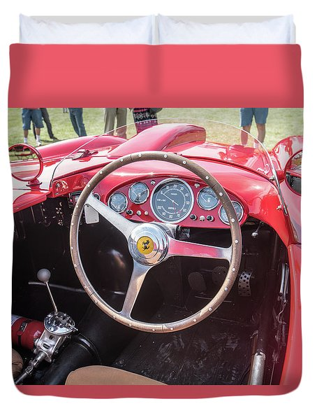 Duvet Cover featuring the photograph 1956 Ferrari 290mm - 4 by Randy Scherkenbach