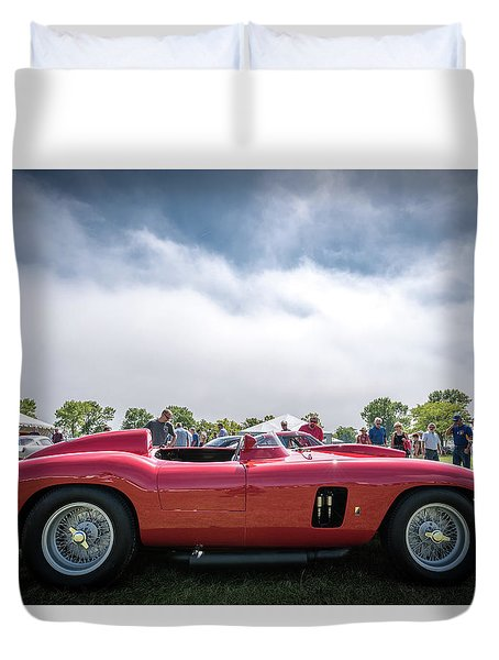 Duvet Cover featuring the photograph 1956 Ferrari 290mm by Randy Scherkenbach
