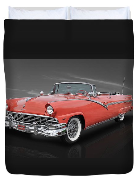 1956 Ford Fairlane Sunliner - Fiesta Red Paint Duvet Cover by Frank J Benz