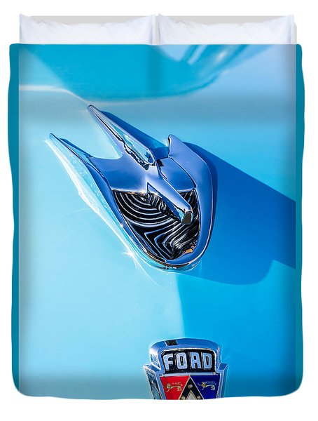 Duvet Cover featuring the photograph 1956 Ford Hood Ornament by Aloha Art