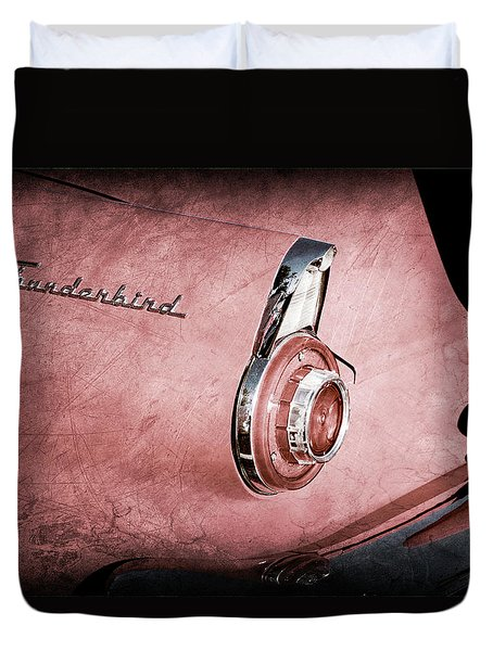 Duvet Cover featuring the photograph 1956 Ford Thunderbird Convertible Taillight Emblem -0361ac by Jill Reger