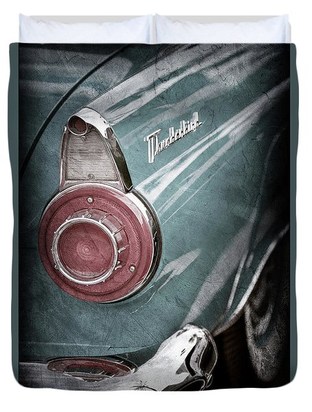 Duvet Cover featuring the photograph 1956 Ford Thunderbird Taillight Emblem -0382ac by Jill Reger