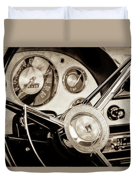 Duvet Cover featuring the photograph 1956 Ford Victoria Steering Wheel -0461s by Jill Reger