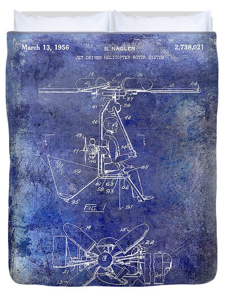 1956 Helicopter Patent Blue Duvet Cover
