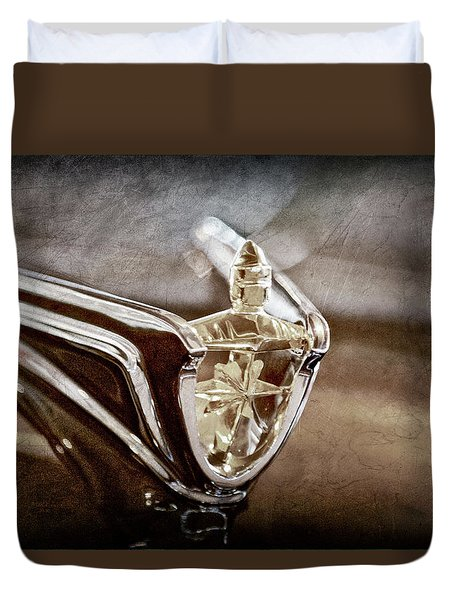 Duvet Cover featuring the photograph 1956 Lincoln Premiere Convertible Hood Ornament -2797ac by Jill Reger