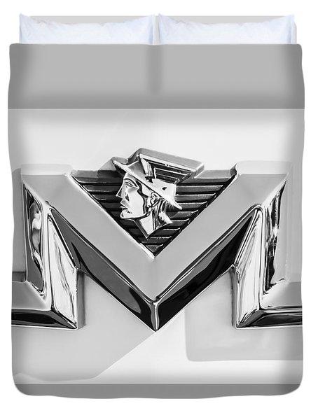 1956 Mercury Monterey Emblem -149bw Duvet Cover