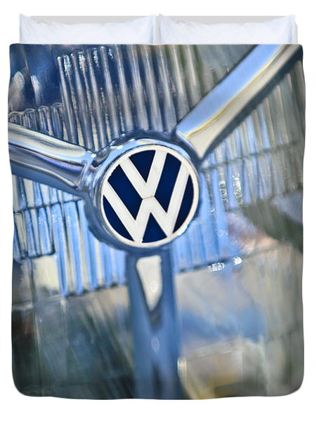 1956 Volkswagen Vw Bug Head Light Duvet Cover by Jill Reger