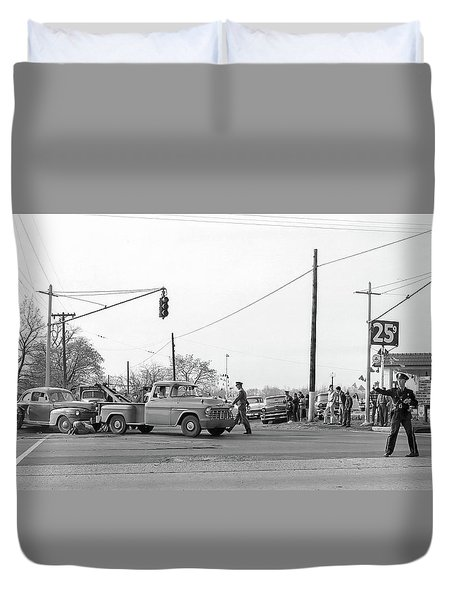 1957 Car Accident Duvet Cover