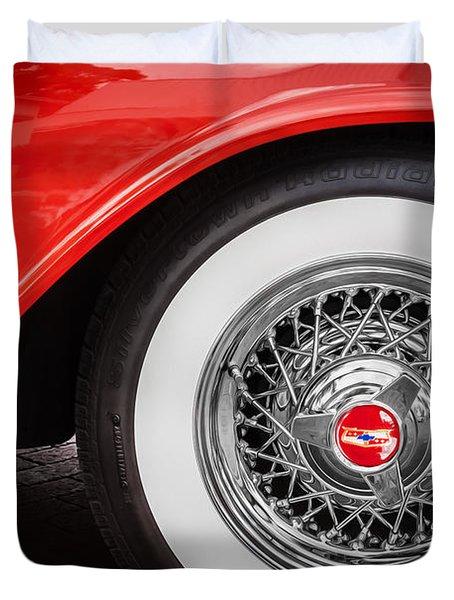 1957 Chevrolet Bel Air 283 Painted Duvet Cover