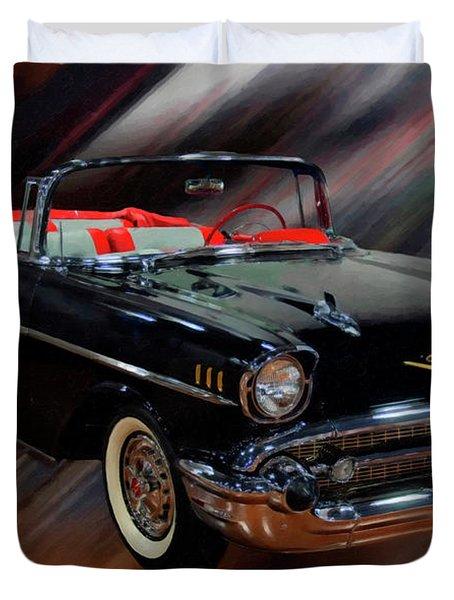 1957 Chevy Bel Air Convertible Digital Oil Duvet Cover