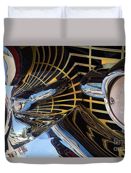 1957 Chevy Bel Air Grill Abstract 1 Duvet Cover
