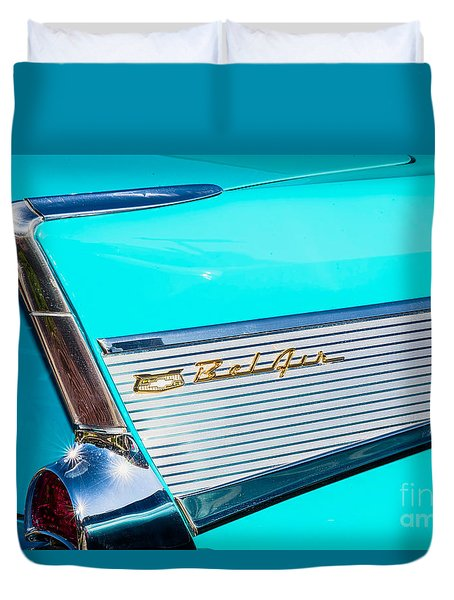 Duvet Cover featuring the photograph 1957 Chevy Bel Air Rear Fin by Aloha Art