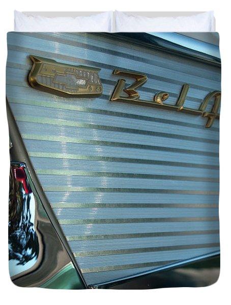 1957 Chevy Belair Fender Emblem Duvet Cover