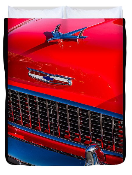 Duvet Cover featuring the photograph 1957 Chevy Hood Ornament by Aloha Art