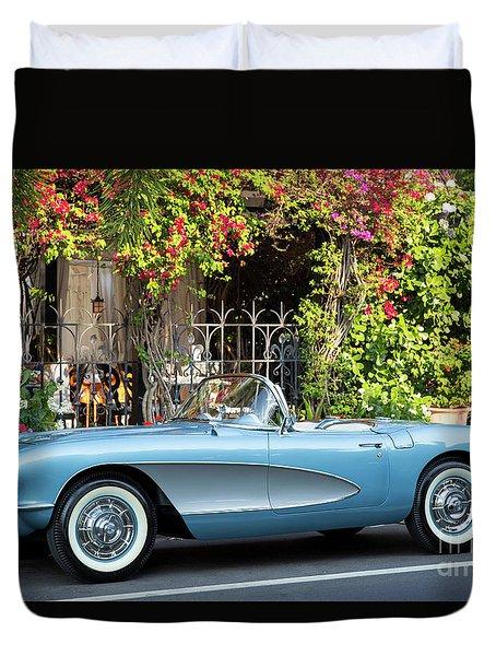 Duvet Cover featuring the photograph 1957 Corvette by Brian Jannsen