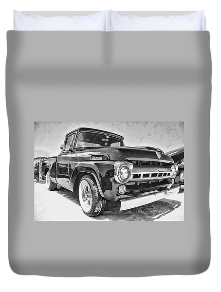1957 Ford F100 In Black And White Duvet Cover