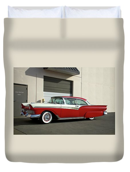 Duvet Cover featuring the photograph 1957 Ford Fairlane Custom by Tim McCullough