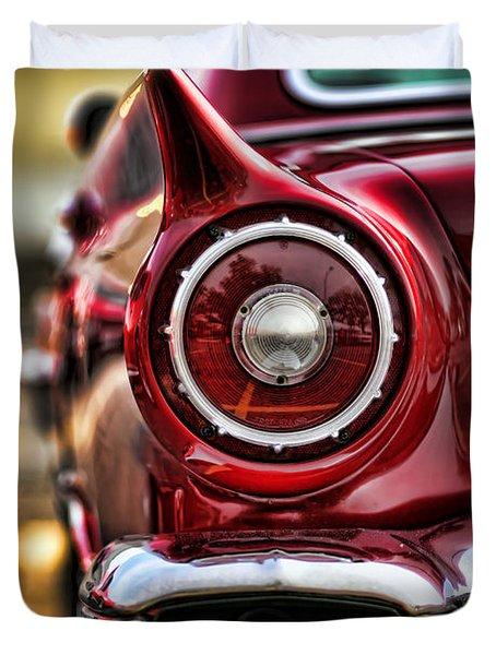 1957 Ford Thunderbird Red Convertible Duvet Cover by Gordon Dean II